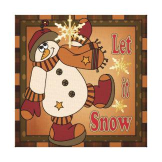 Dejáis le nevar lona del muñeco de nieve del día lona estirada galerias