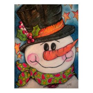 Dejáis le nevar - muñeco de nieve escarchado postal