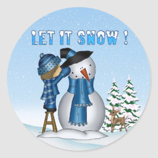 Dejáis le nevar muñeco de nieve redondee a los pegatina redonda