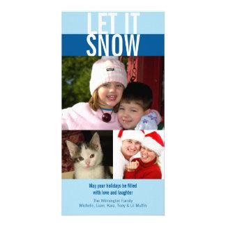Dejáis le nevar navidad intrépido de los azules ma tarjeta fotográfica personalizada
