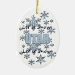 Dejáis le nevar ornamento del navidad de Utah Adorno Navideño Ovalado De Cerámica