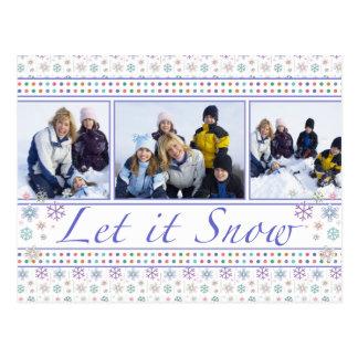 Dejáis le nevar para sus fotos del día de fiesta d postal