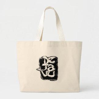 dejavu text based design large tote bag