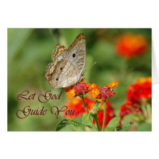 Deje a dios dirigirle mariposa tarjetón
