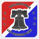 Deje a los pegatinas del anillo de la libertad (20 calcomanía cuadradase