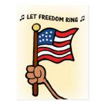 Deje el anillo de la libertad - bandera Spangled e Postal