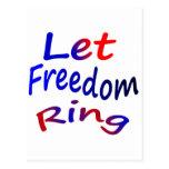 Deje el anillo de la libertad tarjeta postal