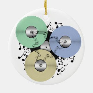 Deje el flujo de la música (de carrete y el disco adorno navideño redondo de cerámica