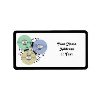 Deje el flujo de la música (de carrete y el disco  etiqueta de dirección