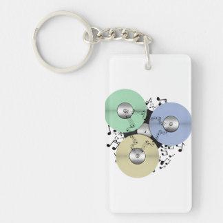 Deje el flujo de la música (de carrete y el disco llavero rectangular acrílico a doble cara