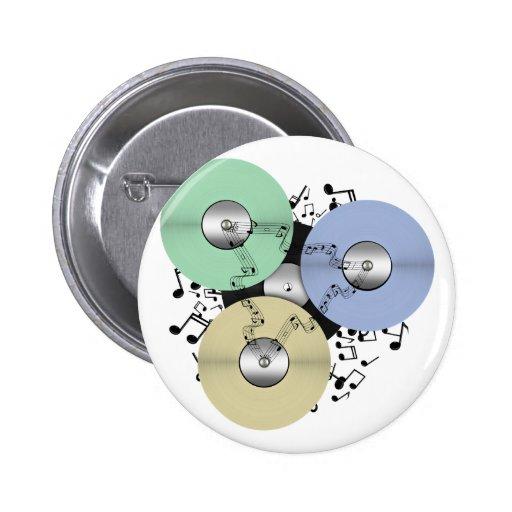 Deje el flujo de la música (de carrete y el disco  pin