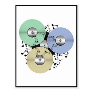 Deje el flujo de la música (de carrete y el disco  tarjeta postal