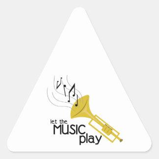 Deje el juego de la música pegatina triangular