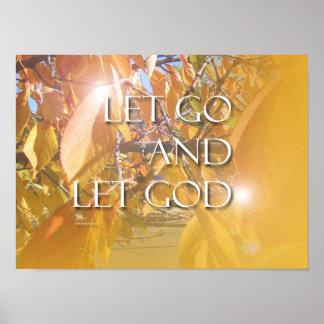 DEJE el poster de oro de las hojas de DIOS