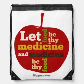 Deje la comida ser thy medicina APPLE Mochila