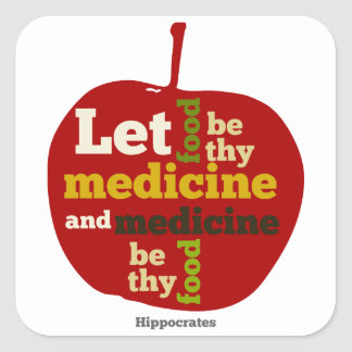 Deje la comida ser thy medicina APPLE Pegatina Cuadrada