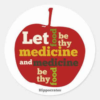 Deje la comida ser thy medicina APPLE Pegatina Redonda