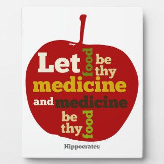 Deje la comida ser thy medicina APPLE Placa De Plastico