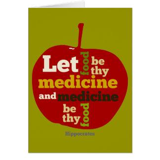 Deje la comida ser thy medicina APPLE Tarjeta De Felicitación