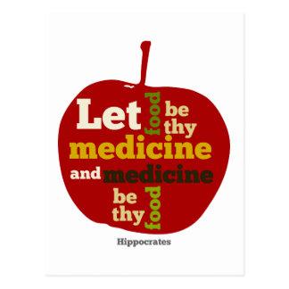 Deje la comida ser thy medicina APPLE Postal