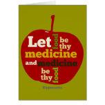 Deje la comida ser thy medicina APPLE Tarjetas