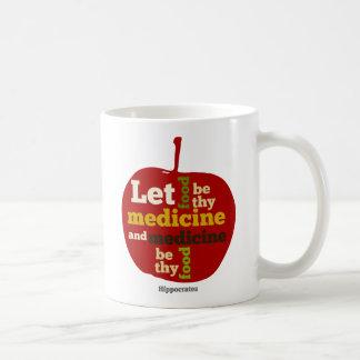 Deje la comida ser thy medicina APPLE Tazas De Café