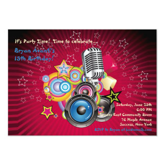 Deje la invitación del juego de la música invitación 12,7 x 17,8 cm