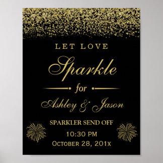 Deje la muestra del boda del brillo del oro de la póster