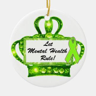 """""""Deje la regla de la salud mental!"""" Ornamentos de Adorno Navideño Redondo De Cerámica"""