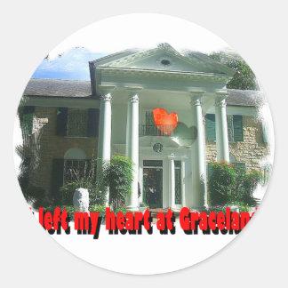 Dejé mi corazón en Graceland Pegatina Redonda