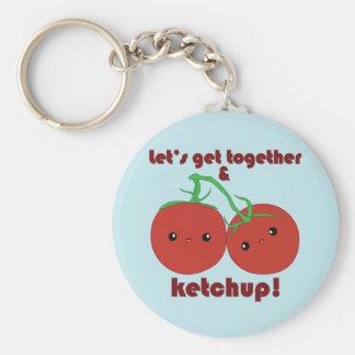 ¡Deje nos reunirse y la salsa de tomate! Tomates d Llavero Redondo Tipo Pin