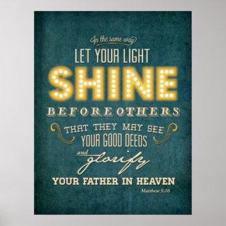 Deje su 5:16 ligero de Matthew del verso de la bib Póster