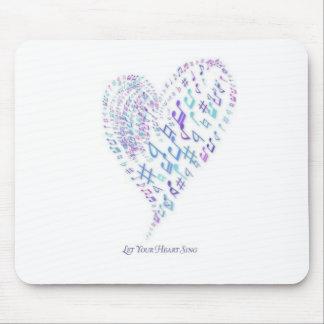 Deje su corazón cantar - el corazón hecho de notas mousepads