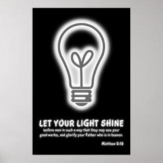 Deje su verso ligero de la biblia del 5:16 de Matt Poster
