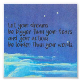 Deje sus sueños ser más grandes que sus miedos cojinete