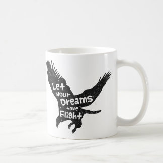 Deje sus sueños tomar a vuelo Eagle Grunge negro Taza Clásica