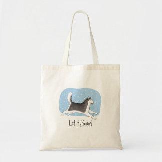 """""""Déjelo nevar!"""" Diseño feliz del perro Bolsa Tela Barata"""