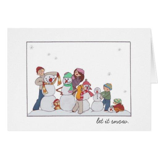"""""""Déjelo nevar"""" familia del muñeco de nieve Tarjeta Pequeña"""