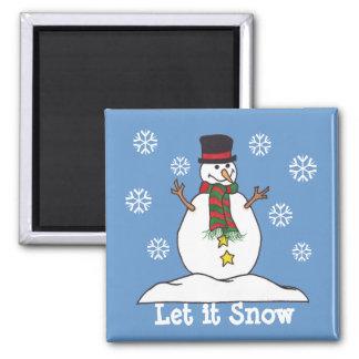 """""""Déjelo nevar"""" - imán feliz del muñeco de nieve"""