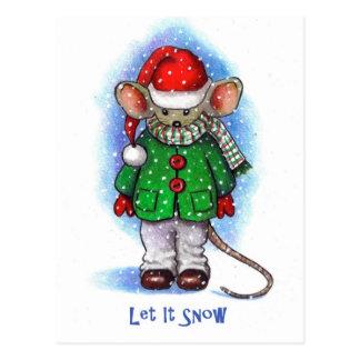 """""""Déjelo nevar"""" pequeño ratón liado para el Postal"""