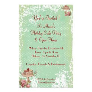 Déjelos comer invitaciones del fiesta de la torta tarjetas informativas