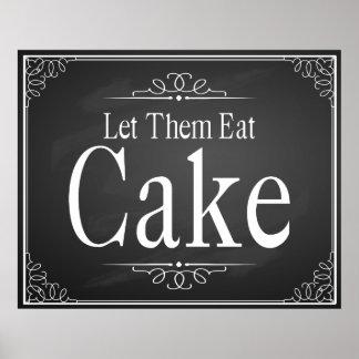 Déjelos comer la muestra del boda de la torta póster
