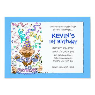 """Déjelos comer la torta - 1r cumpleaños para el invitación 5"""" x 7"""""""