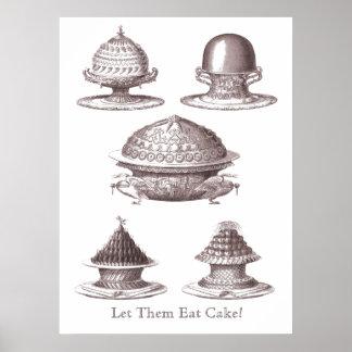¡Déjelos comer la torta! Impresión francesa de la  Póster