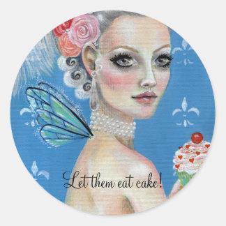 Déjelos comer la torta Marie Antonieta Pegatina Redonda