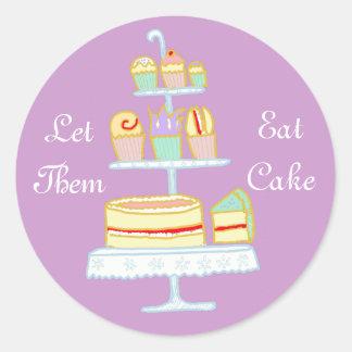 Déjelos comer la torta pegatina redonda