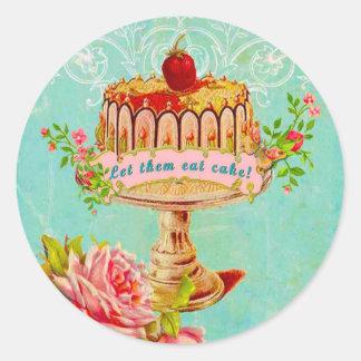 Déjelos comer los sellos de la celebración de días pegatina redonda