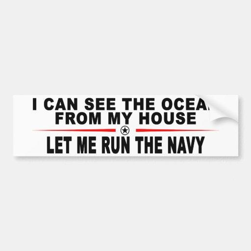Déjeme dirigir a la marina de guerra pegatina de parachoque