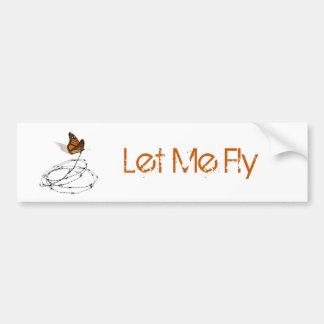 Déjeme volar - la mariposa cogida en alambre de pú pegatina para auto