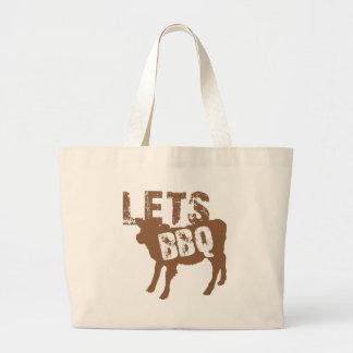 ¡Déjenos Bbq! con la pequeña vaca linda Bolsa Tela Grande